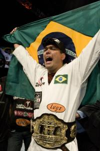 Lyoto Machida celebrates after becoming the Light Heavyweight Campion in the UFC